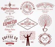 Färgade kaffeemblem Royaltyfria Bilder