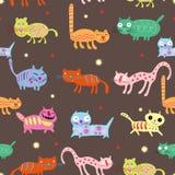 färgade katter planlägger roligt mång- seamless Arkivbild