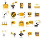 färgade kommunikationssymboler ställde in rengöringsduk Fotografering för Bildbyråer