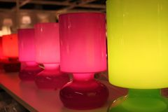 Färgade lampor Arkivbild