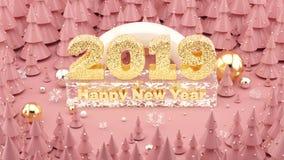 Färgade Millennial rosa färger för lyckligt nytt år 2019 illustrationen 3D med julgranar och garneringar arkivbild