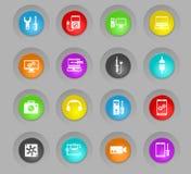 Färgade plast-rundan för elektronik knäppas reparationen symbolsuppsättningen stock illustrationer