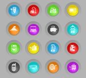 Färgade plast-rundan för elektronik knäppas supermarket symbolsuppsättningen vektor illustrationer