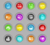 Färgade plast-rundan för elektronik knäppas supermarket symbolsuppsättningen royaltyfri illustrationer