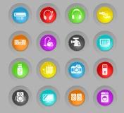 Färgade plast-rundan för elektronik knäppas supermarket symbolsuppsättningen stock illustrationer