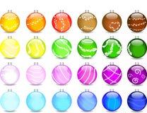 färgade setshimmers för bollar jul Royaltyfri Foto