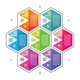 Färgade sexhörningskvarter för affär planlägger det infographic begreppet i plan stil Moment eller numrerade infographic vektorkv Royaltyfri Fotografi
