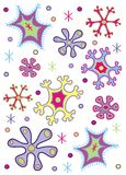 färgade snowflakes royaltyfri illustrationer