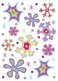 färgade snowflakes Arkivbilder