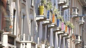 Färgade vaser i stad stock video