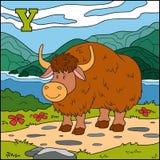 Färgalfabet för barn: bokstav Y (yak) Arkivfoton