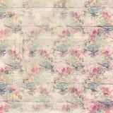 Färgar antika mönstrad bakgrund för tappning rosor i rosa färg- och gräsplanvår Royaltyfri Bild