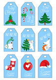Färgar blått för etiketter för gåva för uppsättning nio för etiketter för gåva för semesterperiod för nytt år för Xmas-jul Royaltyfria Bilder