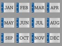 Färgar den fastställda symbolen för kalendermånaden på grå färger och blått stock illustrationer