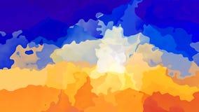 Färgar den sömlösa öglasvideoen för livlig nedfläckad bakgrund - vattenfärgeffekt - apelsinen och blått