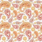 Färgar den sömlösa modellen för vattenfärgen på indiskt tema, den turkiska gurkan i rött och apelsinen, för att dekorera väggar,  Royaltyfri Bild