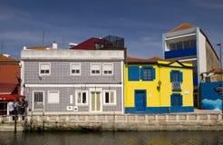 Färgar fasader Aveiro Portugal Royaltyfri Foto