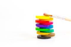 Färgar och borstar Arkivbild