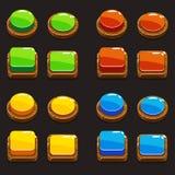 Färgar trätryckknappar för en lek royaltyfri illustrationer