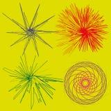Färgat abstrakt begrepp för uppsättning fyra av stiliserade effekter vektor illustrationer