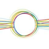 Färgat abstrakt begrepp fodrar och cirklar på en vit bakgrund royaltyfri illustrationer