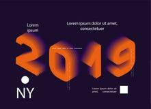 2019 färgat Baner med 2019 nummer nytt vektorår för illustration royaltyfri illustrationer