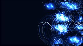 Färgat blått kosmiskt magiskt glödande ljust glänsande neon för textur fodrar abstrakt begrepp spiralvågremsor av trådar av energ vektor illustrationer