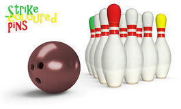 Färgat bowlingben Royaltyfria Bilder