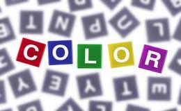 Färgat ord för färg begrepp mot Grey Letters Royaltyfri Fotografi