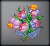 färgblommor vektor illustrationer