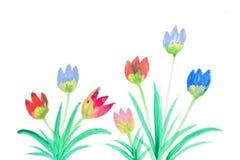 Färgblommor i vattenfärg Arkivfoton