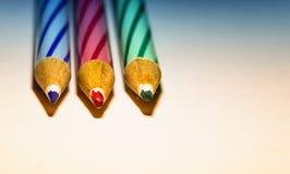 Färgblyertspenna för tre objekt Royaltyfria Bilder