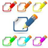 Färgblyertspenna och etikett Fotografering för Bildbyråer