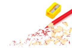 Färgblyertspenna och sharpener royaltyfri fotografi