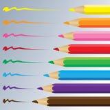 Färgblyertspenna på en grå bakgrund Vektorkolblyertspenna Royaltyfri Bild