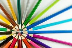 Färgblyertspenna på pappers- bakgrund Royaltyfri Fotografi