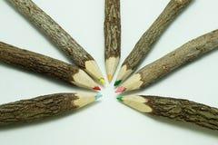 Färgblyertspenna som göras från verkligt pinneträ Fotografering för Bildbyråer