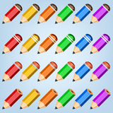 Färgblyertspennasamling Arkivfoton