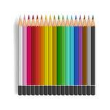 Färgblyertspennauppsättning på vit bakgrund Arkivbild