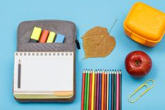 Färgblyertspennor, äpple, lunchask, torrt blad, öppen skrivbok på påse-blyertspenna fall på blå bakgrund royaltyfri foto