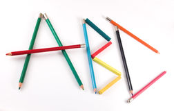 färgblyertspennor för b c Royaltyfria Bilder