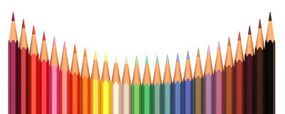 Färgblyertspennor i linje Royaltyfri Fotografi