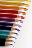 Färgblyertspennor med pricken Royaltyfri Foto