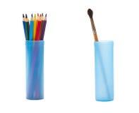 Färgblyertspennor och borste Royaltyfria Bilder