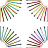Färgblyertspennor på tabellen Royaltyfria Bilder