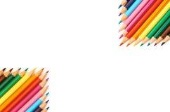 Färgblyertspennor som isoleras på övre modell för vitt bakgrundsslut Royaltyfria Bilder