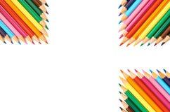 Färgblyertspennor som isoleras på övre modell för vitt bakgrundsslut Royaltyfri Fotografi