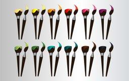 Färgborstar i 12 olika färger vektor illustrationer