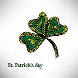 Färgbroschyrväxt av släktet Trifolium, på Sts Patrick dag för Etnisk bohemisk bakgrund med det lyckliga ordet dekorativ tappning royaltyfri illustrationer