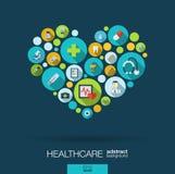 Färgcirklar med plana symboler i en hjärta formar för medicin, läkarundersökningen, hälsa, korset, sjukvårdbegrepp vektor illustrationer
